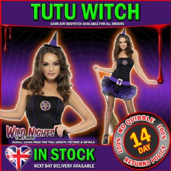 Halloween Fancy Dress # Ladies Fever Purple Tutu Witch Costume XS Size 4-6